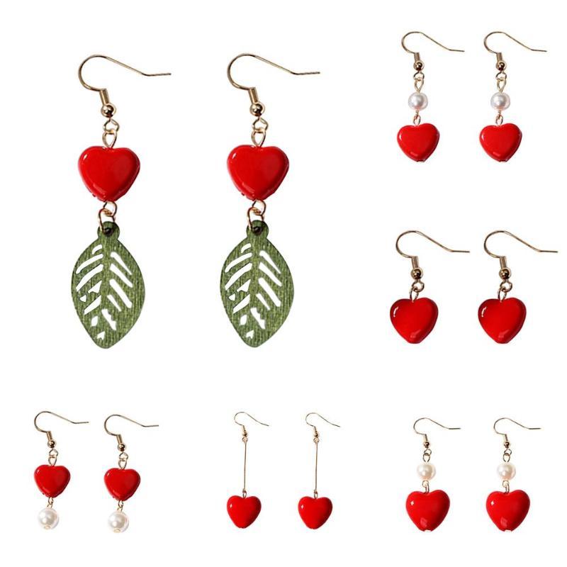 2019 Korean Sweety Lovely Style Drop Earrings Fashion Women Irregular Love Heart Dangle Hook Geometric Drop Earrings Gift