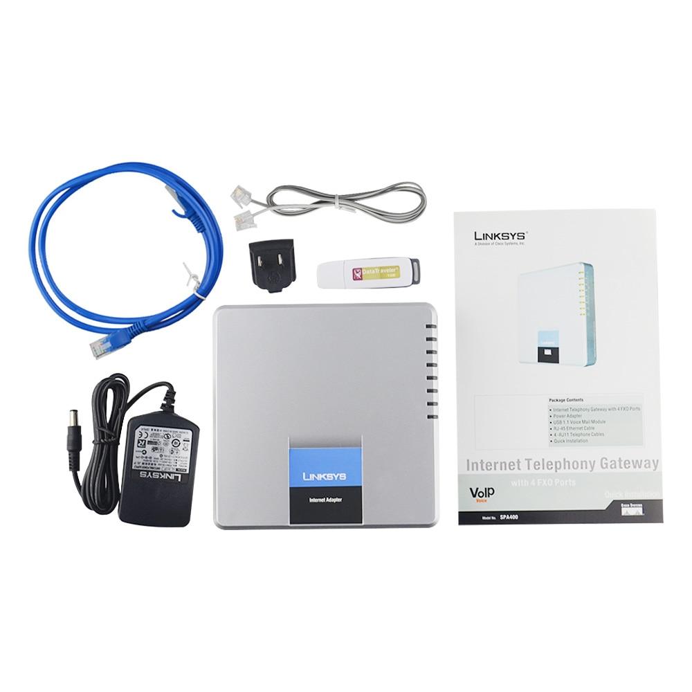 Best scelta Sbloccato LINKSYS SPA400 4FXO Adattatore Del Telefono Del Internet Telefono Linksys Voice Sistema di segreteria telefonica di rete VoIP applica-