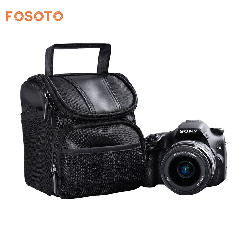 Fosoto Nylon DSLR Caméra Sac Photo Cas Pour Nikon D3400 D5500 D5300 D5200 D5100 D5000 D3200 pour Canon EOS 750D 1100D 1200D 700D