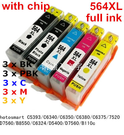 15ink 564 XL Compatible ink cartridge For hp Photosmart C5393 C6340 C6350 C6380 C6375 7520 D7560 B8550 C6324 D5400 D7560 B110c