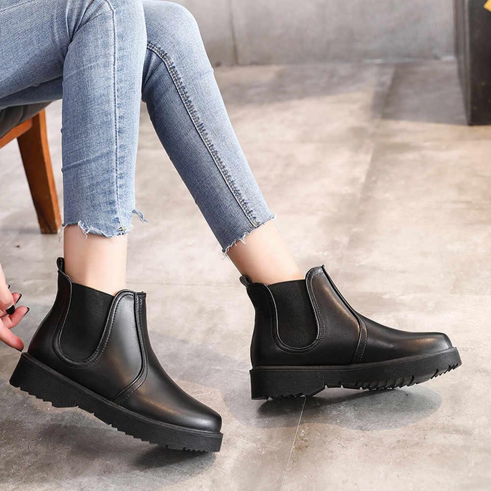 Martin botas curtas de couro feminino cor sólida casual plana dedo do pé redondo estilo europeu outono inverno sapatos femininos botines mujer 2019