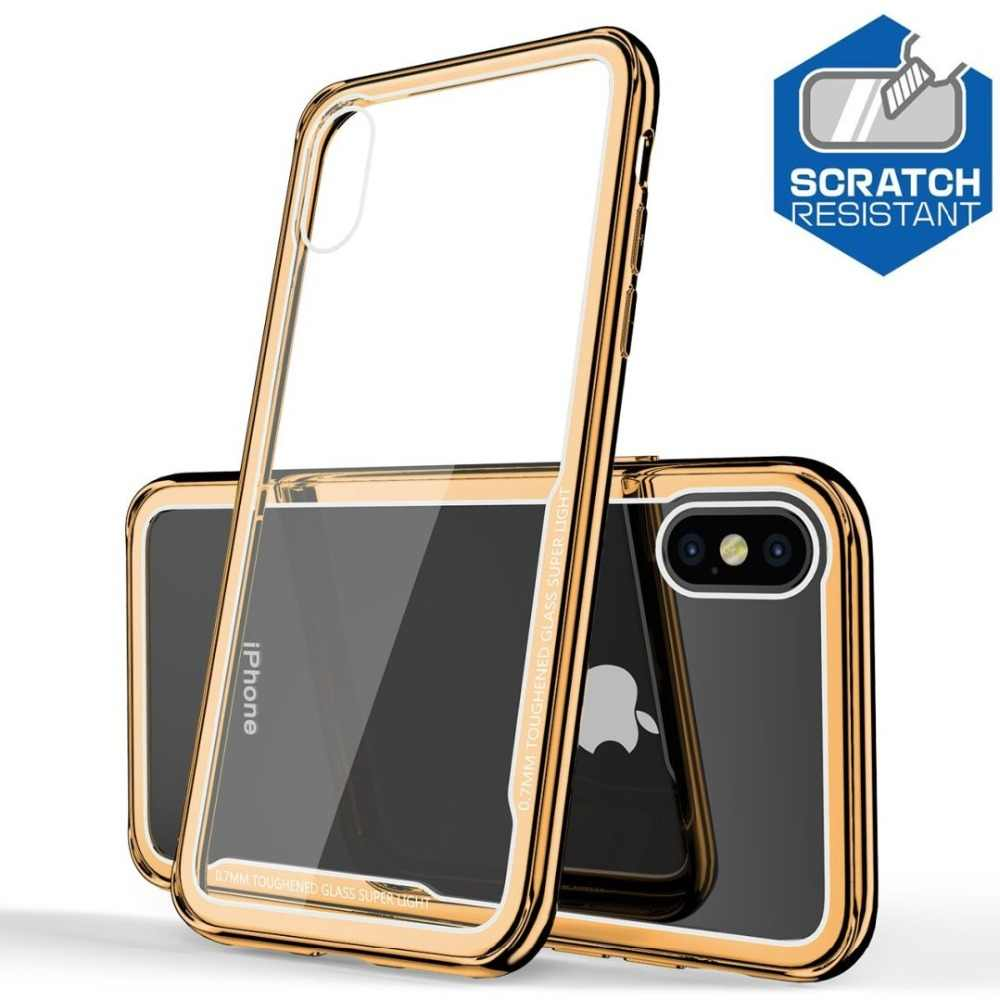 Tempered Glass Case for iPhone X XS XR XS Max Case Luxury Gold Frame Scratch Proof Shockproof Cover for iPhone 8 7 6 6s Plus New