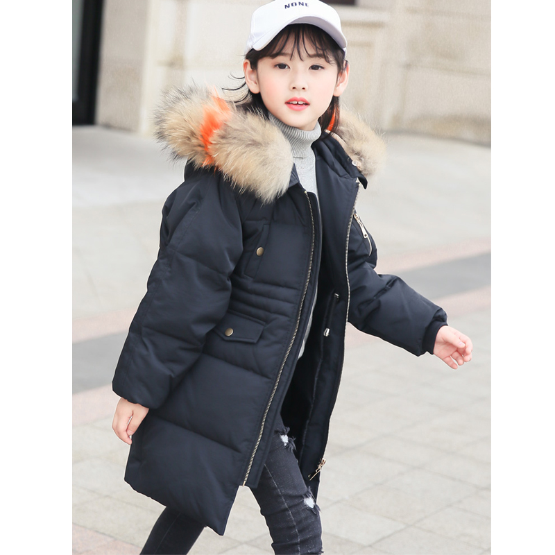 Girl Down Jacket with Fur 2018 Winter Hooded Long Parkas for Girl 8 10 12 14 years Warmly Kids Winter Coat
