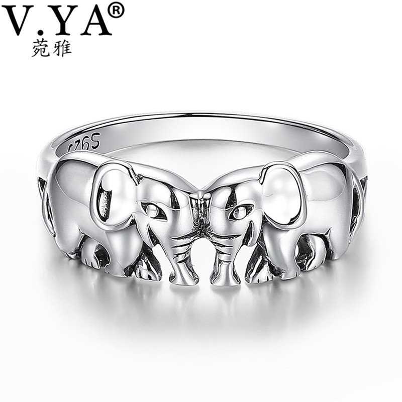 V.YA Cute Animal Elephant Rings 925 Sterling Silver Vintage Style S925 Solid Silver Finger Ring Fashion Women Jewelry US Size