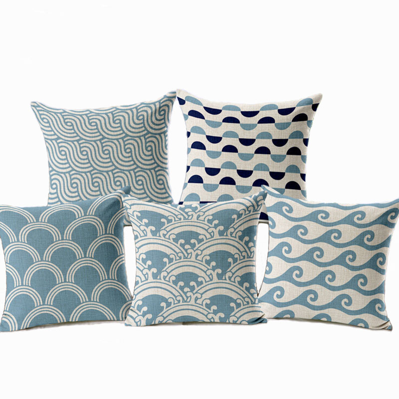 Simple Stripes Cushion Cover Nordic Blue Wave Decorative Throw IEKA Pillow Cover capa de almofada Geometric Car-cover