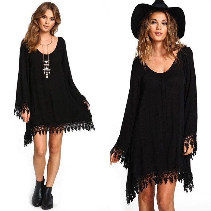 The most generous size long-sleeved tassel loose dress Fashion lace hem irregular chiffon dress Summer women's clothing