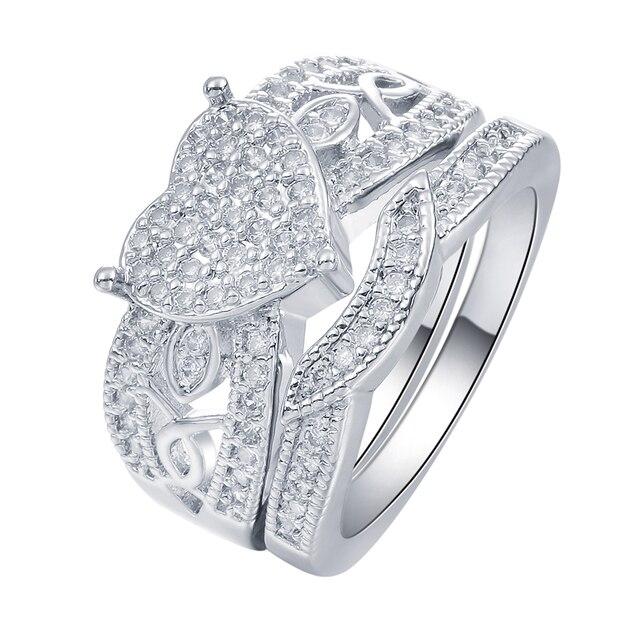 Us 3 56 10 Off Hainon Baru Jantung Cincin Wanita Emas Putih Diisi Cz Zirkon Perhiasan Perak Warna Romantis Cinta Wanita Pernikahan Pertunangan