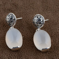925 Silver Earring Natural White Chalcedony Stone S925 Sterling Silver Boucle D Oreille Water Drop Earrings