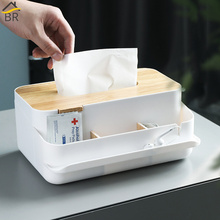 BR Wood Cover Plastic Removable Tissue Box Kitchen Storage Organizer Napkin Holder Case for Napkins Hankerchief Car