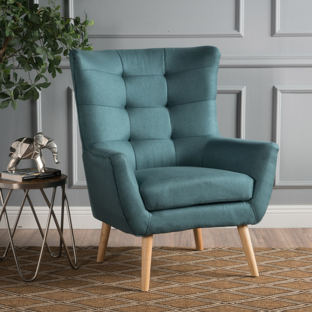 Temescal Mid Century Modern Dark Teal Fabric Club Chair anso contemporary teal color fabric accent chair