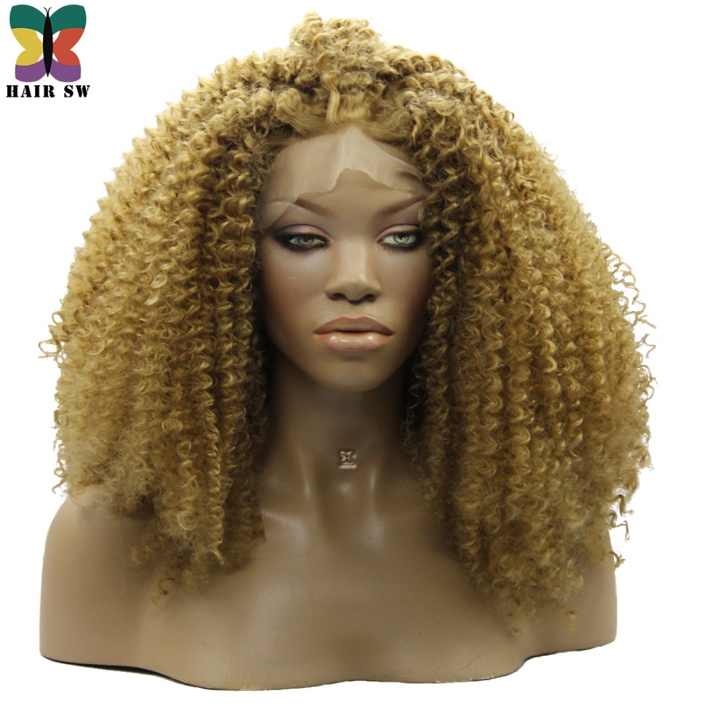 HAIR SW Synthetic BIG Super Full Voluminous Kinky Curly Lace Front Wigs Natural Afro Orange Blonde Free Part For Afro Women