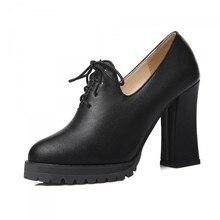 ปั๊มPUใหม่33 44 43 40 41 42ของผู้หญิงรองเท้าส้นสูง10เซนติเมตรแพลตฟอร์ม1.5เซนติเมตรหนาส้นEURขนาด32-45ดี