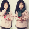 Moda meninas do bebê roupa dos miúdos birdbrains outono e inverno meninas roupas de lã criança outerwear camisola hoodies casual