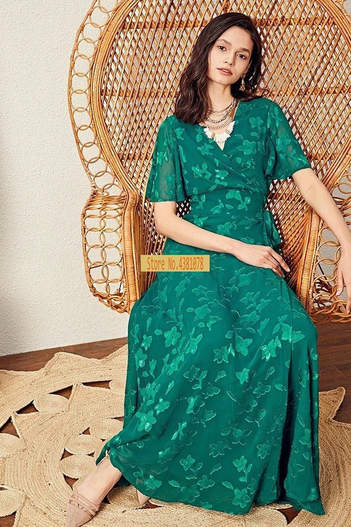 women fashion green flower flocking Wrap Midi butterfly sleeve printed high waist belt wrap midi dress