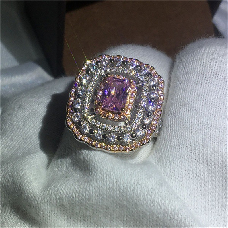Exaggerated Princess 14K gold Diamond Rings for Women Engagement Jewelry Geometric Diamante peridot Gemstones Bizuteria ring new
