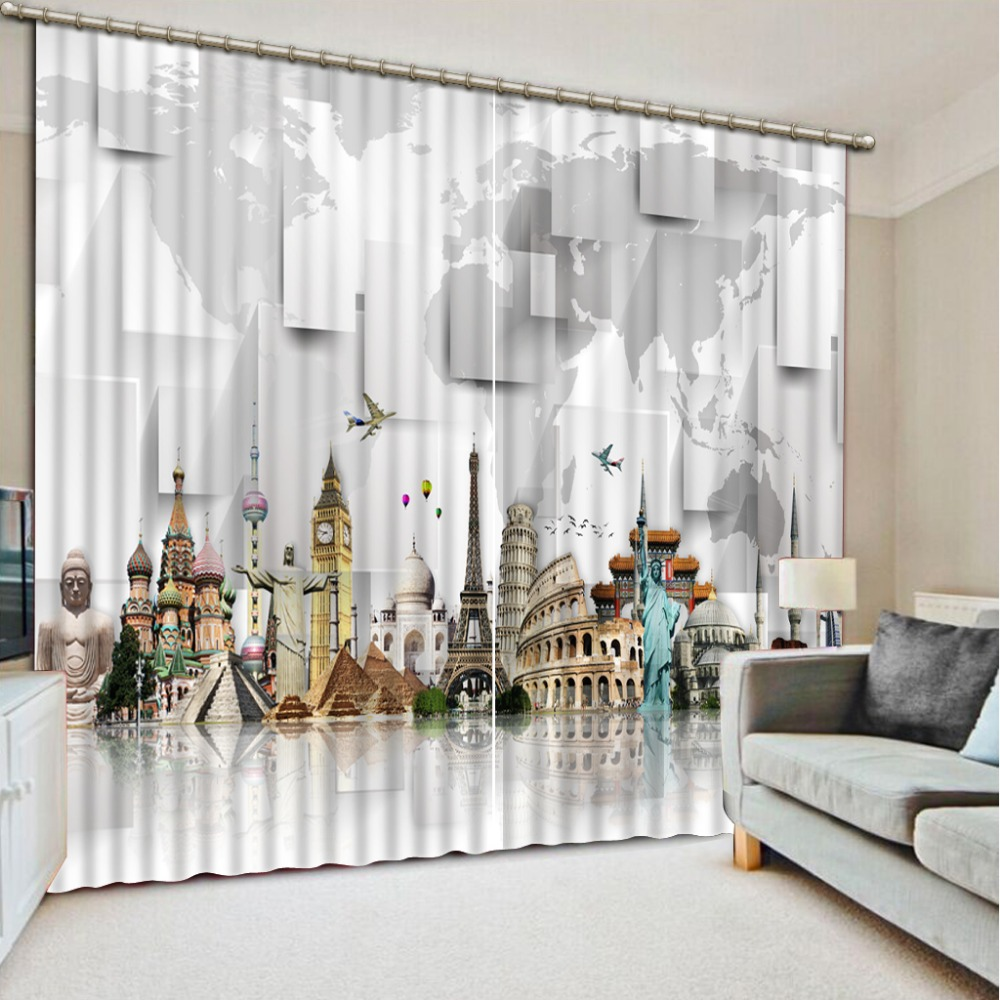 Fashion 3d curtains map Curtains for living room 3D Window Curtains ...