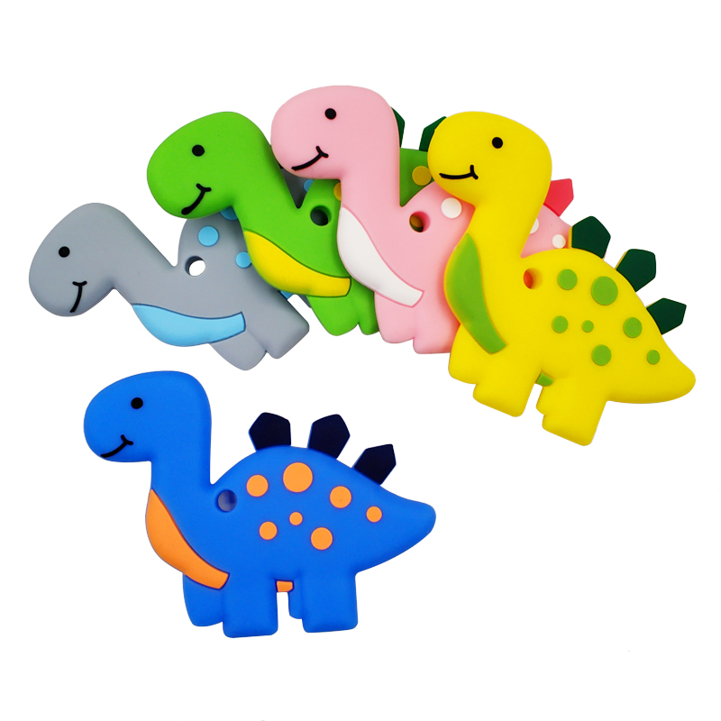 Baby Dinosaur with Silicone Chew Toys Safe Baby Teether Teething L