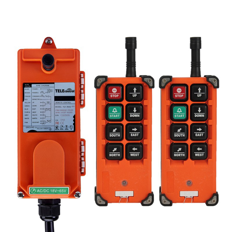 2 Transmitter+ 1 Receiver Uting Universal Industrial Radio Remote Control AC/ DC 24V/ 36V/ 48V Wireless for Overhead Crane