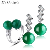 KCALOE Cubic Zirconia Jewelry Set Green Opal Natural Stone Double Ball Open Ring Earrings Silver Plated