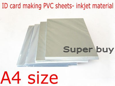 Blank Inkjet print PVC sheet(white) for ID card making ,student , membership material A4 size 0.76mm thick