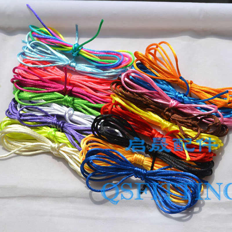 10Meter Soft Satin Rattail Silk Macrame Cord Nylon Chinese Knot For Diy Bracelet Necklace Jewelry Findings Accessories 2mm