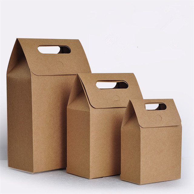 Kraft Gift Paper Bag With Handle Craft Candy Bakery Cookies