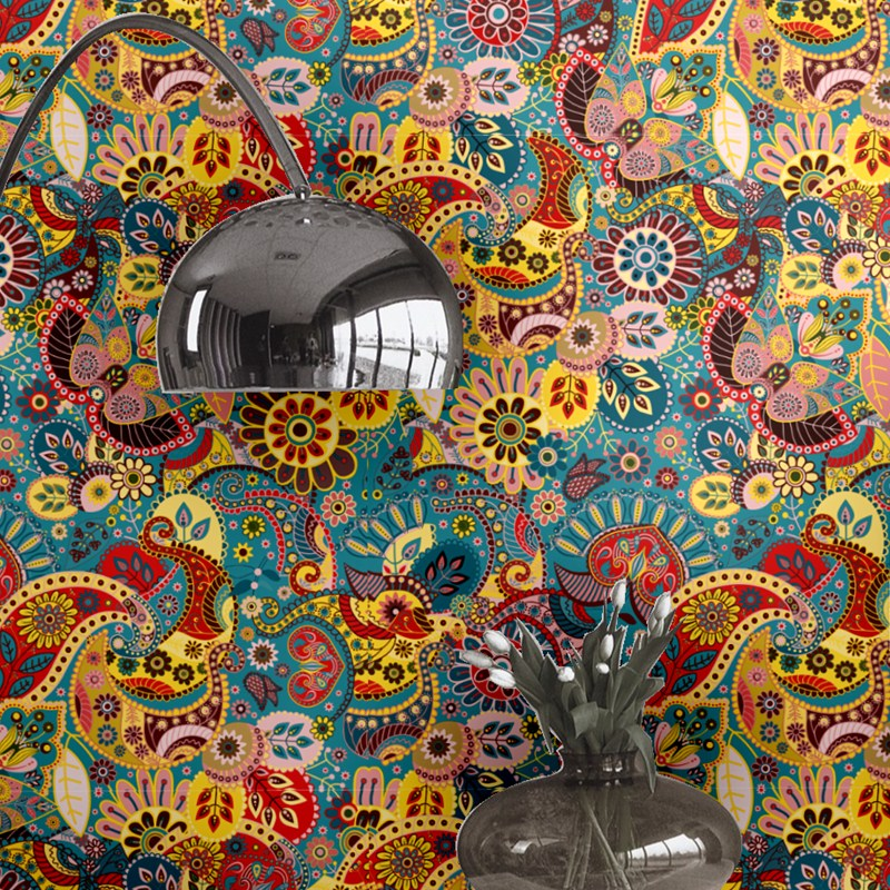 цена Southeast Asian Ethnic Style Wallpaper Colorful Wallpaper Roll Bedroomr Restaurant Wallpaper Retro Pvc Waterproof Wall Wallpaper