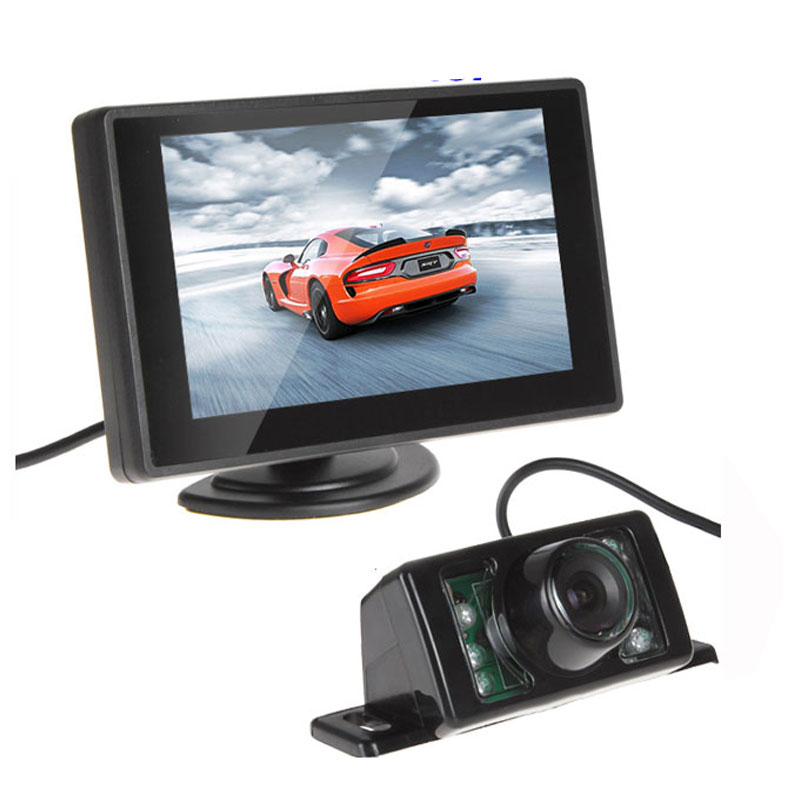 Waterproof 420TVL 2.8mm 170 Lens Angle CMOS Car Rearview Parking Camera With 4.3 Inch TFT LCD Monitor For Reversing Backup Cam