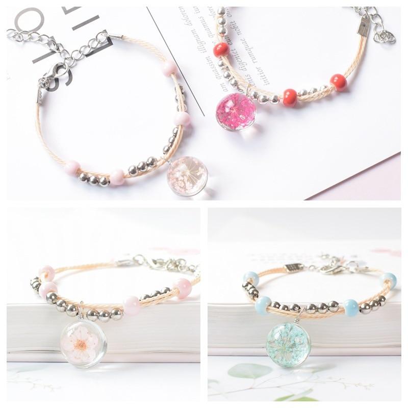 Refreshing ceramic glass exquisite fashion dried flower plant bracelet female peach student jewelry