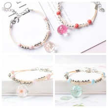 Refreshing ceramic glass exquisite fashion dried flower plant bracelet female peach student jewelry