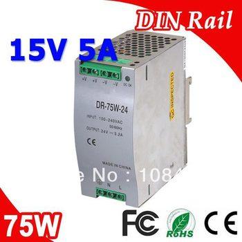 DR-75-15 LED Single Output Din Rail Power Suply Transformer DC 15V 5A Output SMPS