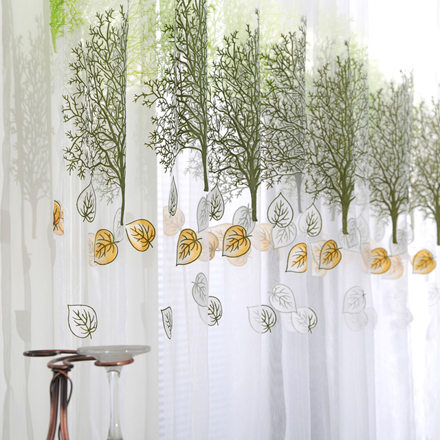 Tree Leaf Print Tulle Voile Door Window Curtain Drape Panel Sheer Scarf Valances
