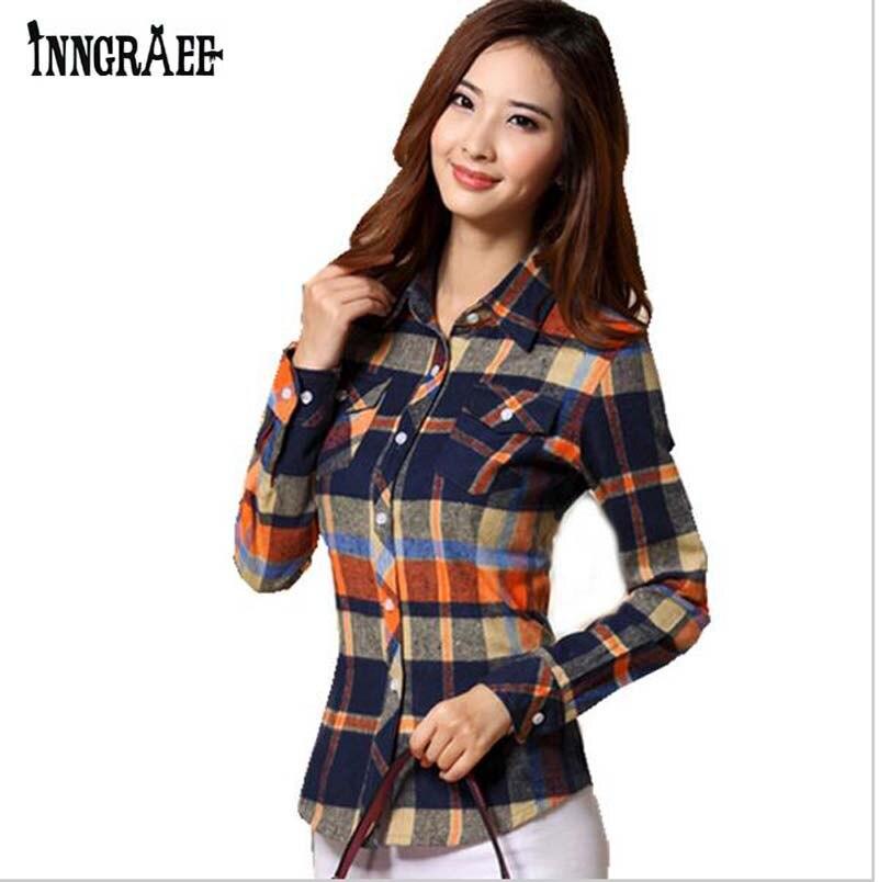 Blouse Shirt Women Plaid Shirt Cotton Long Sleeve Blouse
