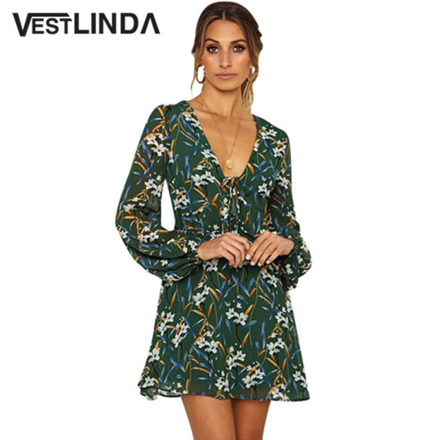 VESTLINDA Ladies Dresses Deep V Neck Long Sleeve Floral Print Women Tied  Mini Dress Autumn Spring Vestido De Festa A Line Dress 1f68fdf6cd43
