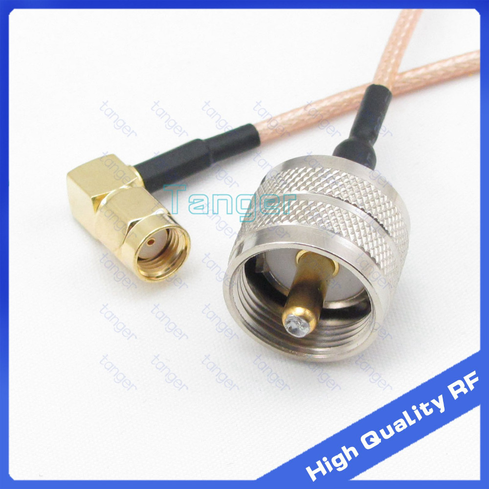 UHF male PL259 PL-259 to RP-SMA male right angle connector with 20cm 8in RG316 RG-316 RF Coaxial Pigtail cable high quality rp sma female to y type 2x ip 9 ms156 male splitter combiner cable pigtail rg316 one sma point 2 ms156 connector for lte yota