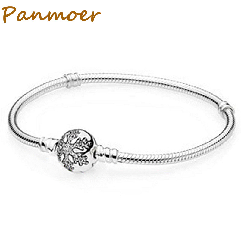 925 Sterling Silver Classic snowflake snake bone chain fashion Classic Bracelet Women fit pandor charms DIY Fine Jewelry ...