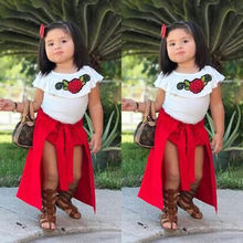 Summer Kids Girls Clothes Baby Girl Rose T-shirt Tops Red Skirt Short Pants  Bowknot Dress Children Fashion Formal Party Clothes e8fe789803d2