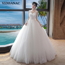 VENSANAC 2018 Elegant Lace Appliques V Neck Crystal Ball Gown Wedding Dresses Sequined Backless Tulle Bridal Gowns