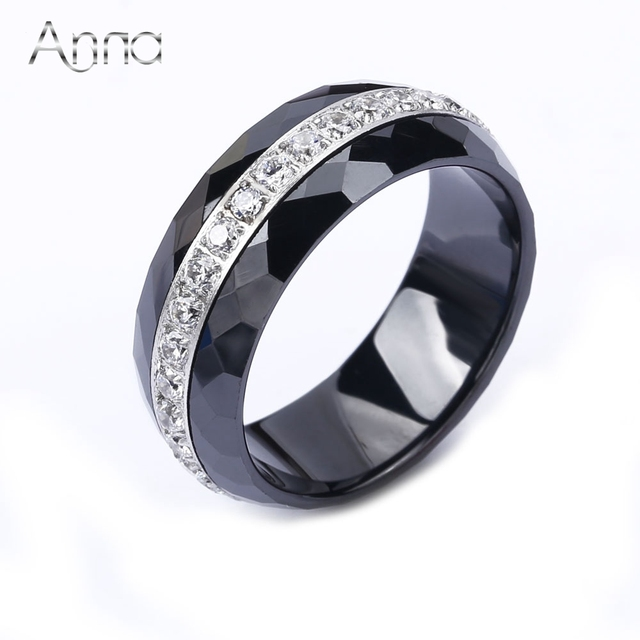 A&N Fashion Ceramic Ring For Women High Quality Annulus Zircon Handmade Cut Ring Luxury Black&White Wedding Rings Party Jewelry