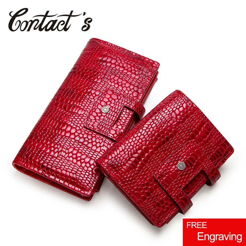 Contact's Genuine Leather Women Wallet Zipper Coin Purse Long Walet Cell Phone Bag Card Holder Ladies Clutch Brand Designer
