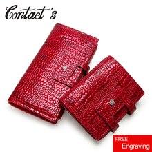Contacts cartera de piel auténtica para mujer, monedero con cremallera, bolsa para teléfono móvil, tarjetero, Clutch de marca de diseñador