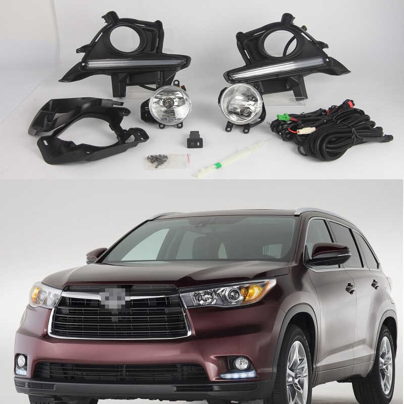 1 Set DRL Daytime running lamps + driving fog lights + cover + wiring harness Kits for Toyota New Highlander 2014 2015 drl daytime running lights led fog lights lamp toyota yaris hatchback 2009 on clear lens pair set with wiring kit fog light set