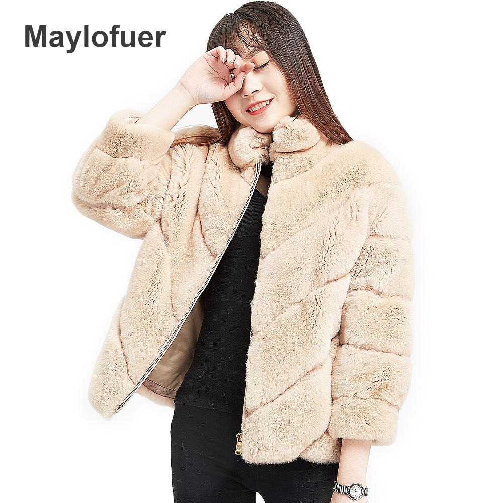Femme Pour Rex Maylofuer Fourrure Blue light gray Manteau Beige Gray Manteaux deep Gray khaki deep Femmes Lapin Grand De Naturel Veste light Blue D'hiver Réel Style tvwpqvP