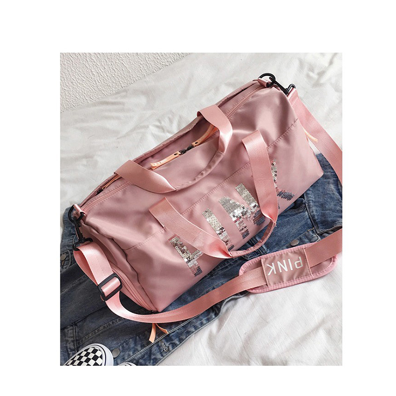 Letter new short-distance travel bag unisex dry and wet separation fitness bag with independent shoes