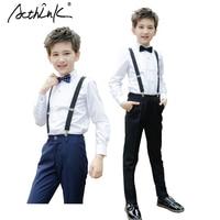 ActhInK New Big Boys Wedding Overall Suits with Bowtie Brand School Boys Uniform Bib Pants Suit Flower Boys Clothing Set, C214