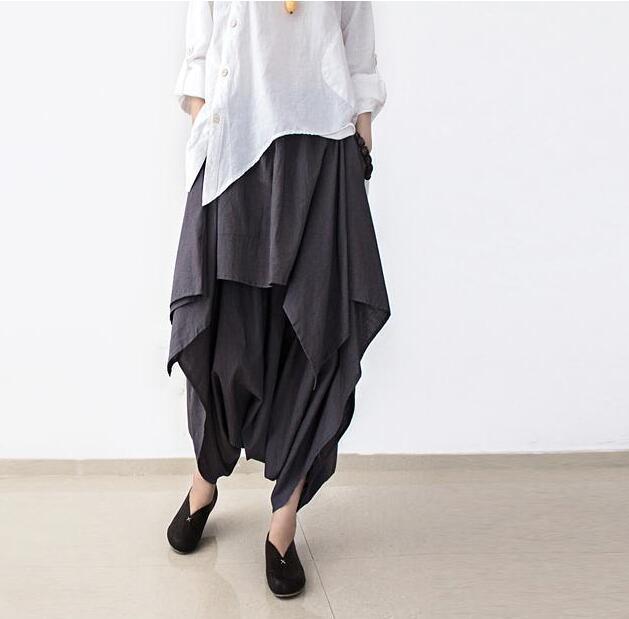 New Women   Wide     Leg     pants   Loose Linen Cotton Asymmetric   Pants   Original Designer big Size Capris Elastc Waist Skirt