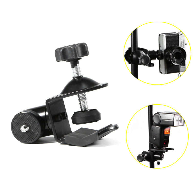 Meking U-Clamp with Ballhead Holding Camera Speedlite on Table Pole Studio Accessoires With 1/4 Screw Thread For Tubes and Clamp