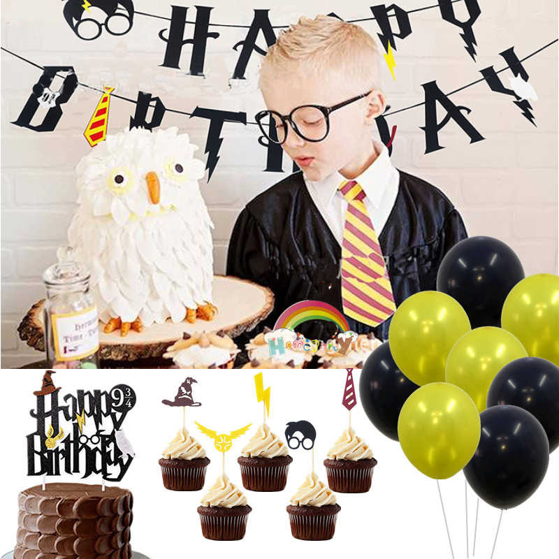 Harry Happy Birthday Banner Cake Topper Lightning Felt Flags Black Red Bunting for Baby Shower 1st Boy Magic Party Decor