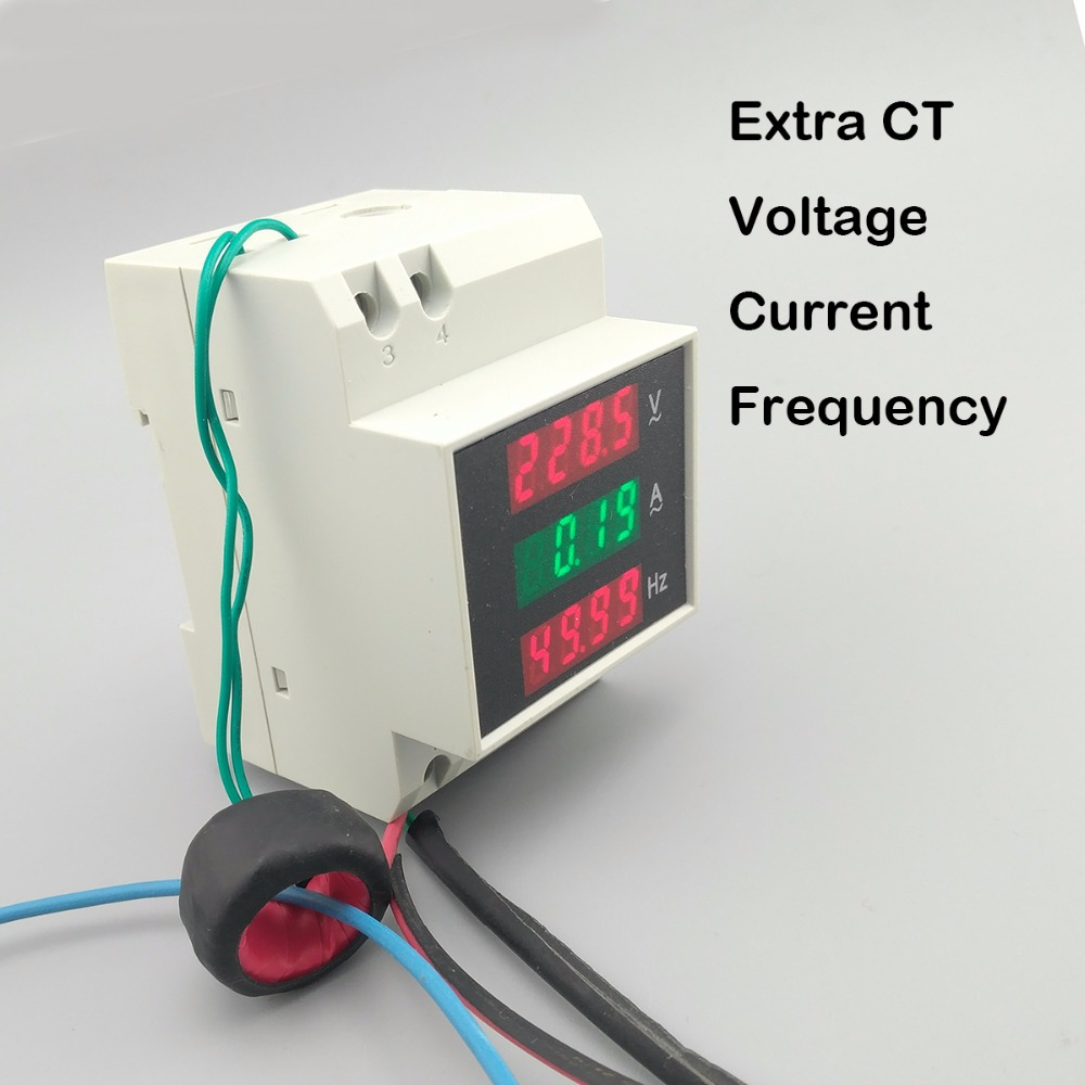 3IN1 Din rail LED display voltage current frequency meter 80-300V 200-450V 0-100A voltmeter ammeter three in one with extra CT 450v