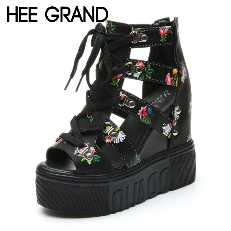 HEE GRAND Flower Decoration 2018 Women Wedge Sandals High Heel Lace-up Sandals Wearing Women Vacation Shoes XWZ4674